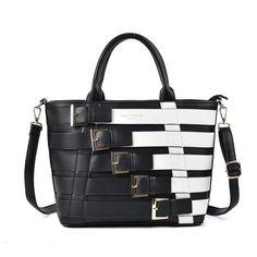 11deb19ee0 White - Fashion Women Patchwork Metal Buckle Decoration Handbag Latest  Handbags