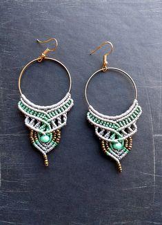 Macrame earrings, bohemian, tribal, grey mint colors