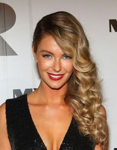Color, blonde ombre, side swept curls