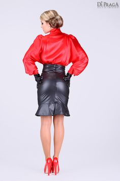 BB7 Satin Blouse with pleated front and back