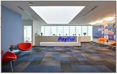 Blue and Orange office design, Paypal, designed by Shaw Contract Group