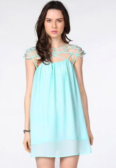 Mint Green Cut Out Shift Chiffon Mini Dress