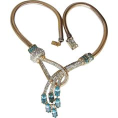Retro Ca. 1948 Adolph Katz for CORO Aqua Rhinestone Vintage Choker Necklace