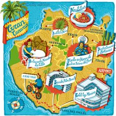 Elly Walton - Map of Gran Canaria for Aer Lingus Cara Magazine Canario, Canary Islands, Cartography, Archipelago, Tenerife, Places To Travel, Hand Lettering, Illustration, Maps