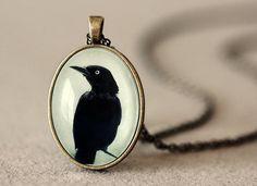 Crow Pendant  Gothic Jewelry  Wearable Art  by NatureMandalas, $22.00