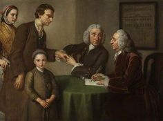 Dr Oliver and Mr Peirce, the First Physician and Surgeon Examining Patients Afflicted with Paralysis, Rheumatism and Leprosy by William Hoare, 1761