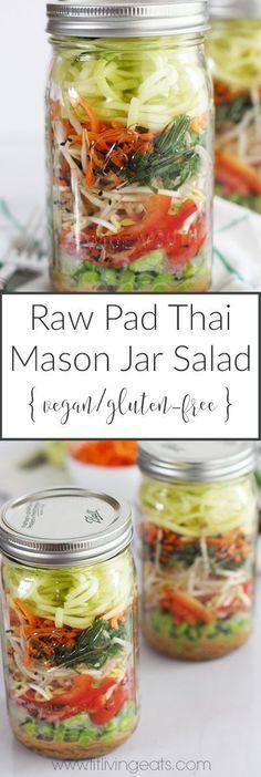 Raw Pad Thai Mason Jar Salad with Kelp Noodles (vegan and gluten-free!) | FitLiving Eats