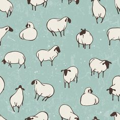 Herd of sheep in pasture fabric by ev-da on Spoonflower - custom fabric