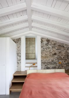 Architecture, Stone Wall Panels And Wood Sloping Ceiling Bedroom Farmhouse Design Ideas: Farmhouse Restoration and Expansion in Riomaggiore Attic House, Attic Rooms, Attic Spaces, Attic Bathroom, Attic Floor, Garage Attic, Attic Closet, Attic Playroom, Attic Apartment