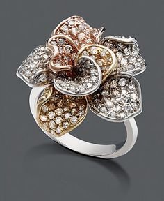 Trio by Effy Collection, diamond ring, 14k gold, white gold and rose gold $3,700.00 at Macy's