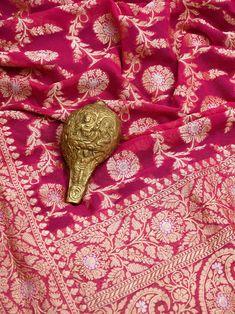 Textile Pattern Design, Textile Patterns, Textile Prints, Banarsi Saree, Lehenga Choli, Sarees, Red Saree Wedding, Katan Saree, Weave Shop
