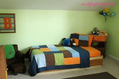 Orange and blue boy's room