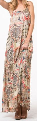 Feather Print Maxi Dress-Wear Us Out Boutique Conroe/Montgomery, TX