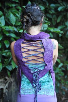 Felt Silk Corset Back Closure Pixie Fairy Vest OOAK by frixiegirl