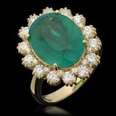 14K Gold 6.80ct Emerald 1.42ct Diamond Ring