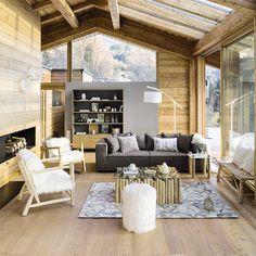 salon - bois - blanc - gris - chalet - moderne - maisons du monde / living