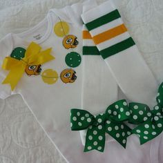 Green Bay Packer Necklace Onesie or Shirt with matching Baby Legs Legwarmers. $30.95, via Etsy.