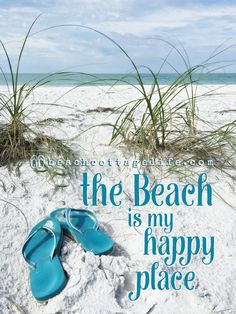 becae06579065 the Beach is My Happy Place Flip Flops Life is Better in Flip Flops Beach  Coastal Home Print or Canvas Blue Seaside Sea Grass Personalized
