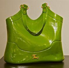 Green clay purse.