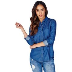 Justfab Shirt Chambray Denim Shirt