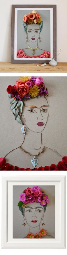 Frida made entirely of flowers and twigs! Totally unique affordable art prints to add to your space or gift to a Frida fan! by Vicki Rawlins Collage, Dibujos Cute, Middle School Art, Affordable Art, Art Plastique, Teaching Art, Artist Art, Art Education, Diy Art