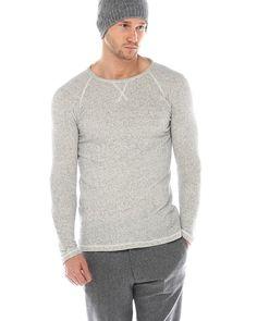 ATF Sweater KURT Beige  schöner, schlichter Pullover von ATF in Leinenoptik umfassender Saumabschluss Ziernahtdetails auf der Brust