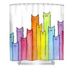 Tree Shower Curtain Watercolor Rainbow Nature Curta