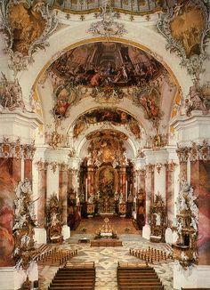 Baroque and Rococo style interior of Ottobeuren Abbey - near Memmingen - Allgäu, Germany