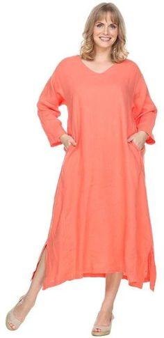 La Fixsun Linen Vneck sleeve Long A-line Dress select colors on sale Womens Linen Clothing, Draped Dress, Long A Line, Cold Shoulder Dress, Tunic Tops, V Neck, Sleeves, How To Wear, Clothes