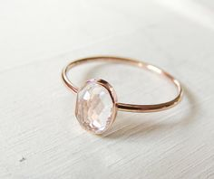 Dainty Gold Ring, Engagement Ring, White Topaz Ring, Yellow Gold Ring, Rose Gold Ring, Gemstone Ring, Gold Ring, Mothers day Ring, Oval Ring by Luxuring on Etsy https://www.etsy.com/listing/225764965/dainty-gold-ring-engagement-ring-white