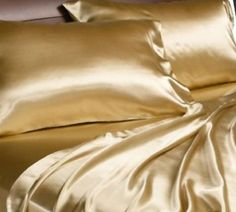 Divatex Home Fashions Royal Opulence Satin Queen Sheet Set, Gold - Product Description: Give in to an enchanted night's sleep with this luxurious set of satin sheets for Silk Bed Sheets, Gold Sheets, Satin Sheets, Fitted Sheets, Flat Sheets, Sheets Bedding, Comforter Set, Bedding Sets, Satin Bedding