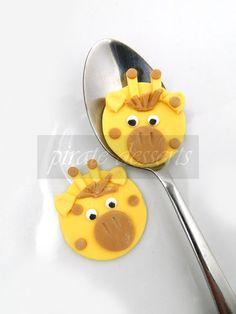 Edible cupcake toppers Baby Giraffe Birthday by PirateDessert,