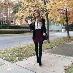 White blouse with black tie+burgundy skirt+black tights+black boots+black velvet blazer+black shoulder bag. Burgundy Skirt Outfit, Black Tights Outfit, Black Skirt Outfits, Blazer Outfits Casual, Winter Skirt Outfit, Business Casual Outfits, Casual Boots, Dress Casual, Work Outfits