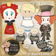 11-Alice + Friends  $4.00   Sale:$1.00  Save:75% off  Cute new collection of Alice + Friends. Created at 300 dpi in jpeg and transparent png formats. Large size. Instant download.