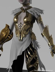 I love the feathers at the top.t really compatible with shoulder guards, but maybe they could be added somewhere else? I also love the asymmetrical skirt thingie. But of course Eirian will be more covered! Fantasy Armor, Fantasy Dress, Medieval Fantasy, Cosplay Armor, Cosplay Costumes, Armadura Steampunk, Mädchen In Bikinis, Elfa, Female Armor