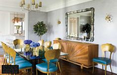 A Bold and Glamorous Manhattan Apartment {Almost everything in the dining room is antique or vintage, except for the gilded Oly Studio chairs which are upholstered in turquoise leather for a vibrant pop of color. Dining Room Design, Dining Area, Dining Chairs, Dining Rooms, Gold Chairs, Dining Table, Blue Chairs, Outdoor Dining, Dining Room Sideboard