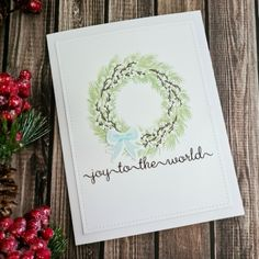 WPlus9 Woodland Wreaths Christmas In July, Christmas Cards, Christmas Challenge, White Heat, Joy To The World, Blue Bow, Rustic Feel, Ink Pads, Lawn Fawn