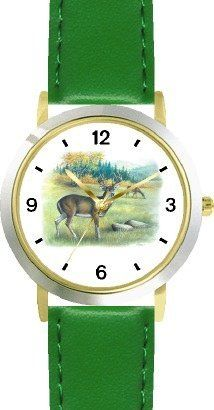 Buck & Doe Deer JP Animal - WATCHBUDDY® DELUXE TWO-TONE THEME WATCH - Arabic Numbers - Green Leather Strap-Size-Children's Size-Small ( Boy's Size & Girl's Size ) WatchBuddy. $49.95