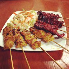 Khmer beef and chicken sticks. (Sach chakak)