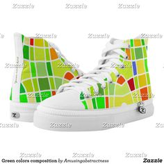 Shop Green colors composition High-Top sneakers created by Amusingabstractness. Green Sneakers, Best Sneakers, Custom Sneakers, High Top Sneakers, Happy Colors, On Shoes, Green Colors, High Tops, Streetwear