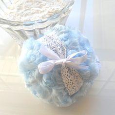 Body Powder Puff ... ice blue and white lace crochet pouf  by BonnyBubbles, $11.95 #blue #puff #ladylike