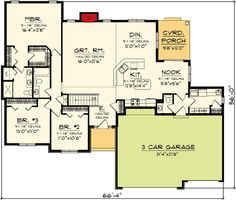 1000 images about house plans on pinterest house plans for Ranch style house plans with bonus room
