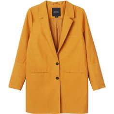 Monki Emma blazer ($63) ❤ liked on Polyvore featuring outerwear, jackets, blazers, coats, powdered heat, yellow jacket, mustard yellow blazer, monki, blazer jacket and oversized blazer
