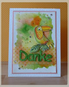 """my favorite things stamps, """"Birds of Paradise"""", stabilo carbothello, watercolouring"""