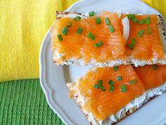 Matzoh With Lox And Cream Cheese    Who needs bagels, anyway? Just toast matzoh with butter, onion, and garlic powder, then deck it out with your favorite appetizing fixings.