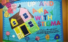 Up and Away With Stigma - Bulletin Board on Mental Health - Mental illnesses are not adjectives #RA #BulletinBoard #MentalHealth #MentalIllness #ResLife