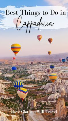 Nearly 100 magical hot air balloons take to the skies every sunrise (weather permitting) in Cappadocia, Turkey. It's also home to many amazing cave dwellings, hiking trails, restaurants and more. In this post, I'm sharing my top 25 things to do in Cappadocia | cappadocia | pandemic travel | best things to do in cappadocia | kapadokya | turkey | cappadocia turkey | cappadocia activities | things to see in cappadocia Greek Islands To Visit, Best Greek Islands, Istanbul, Air Balloon Rides, Hot Air Balloon, Beautiful Places To Visit, Cool Places To Visit, Formations Rocheuses, Vancouver