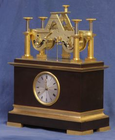 Rare French Time and Strike Skeleton Clock, circa 1833 The ormolu and patinated bronze case has cove moldings top and bottom Exhibitor: Sundial NYC #AVENUE #clocks