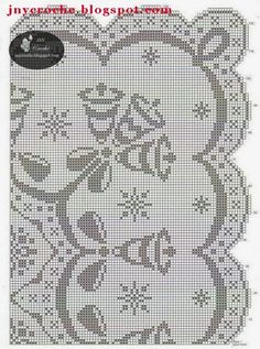 JNY Crochê: Gráficos de crochê para o Natal! Barrados, toalhas e centros de mesa de crochê de Natal!