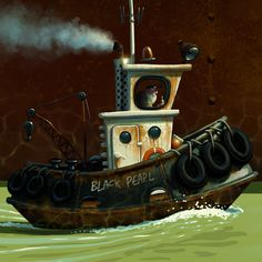 Denis Zilber is a freelance illustrator working in several fields like advertising, editorial and children's books illustration, video and board games . Boat Cartoon, Cartoon Airplane, Denis Zilber, Boat Illustration, Bateau Pirate, Blog Art, Boat Drawing, Pirate Art, Tug Boats